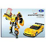 Happy Well Робот-трансформер CHEVROLET CORVETTE C6R , 1:18, свет, звук