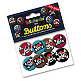 Mini-Button-Set Pirat Jolly Roger, 8 Stück