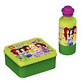 Набор бутылочка и контейнер для ланча, Лего Friends, зеленый