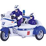 ТЕХНОПАРК Мотоцикл Милиция/Полиция с люлькой,  свет+звук