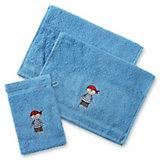 Handtuchset, 2 Handtücher klein & 1 Waschlappen, Pirat/Hellblau