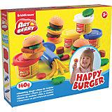 Набор для лепки: Пластилин на растительной основе Happy Burger 4 цвета по 35г