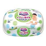 Детские влажные салфетки Merries Flushable, 64 шт., пластиковый контейнер