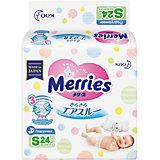 Подгузники для детей Merries,S 4-8 кг, 24 шт.