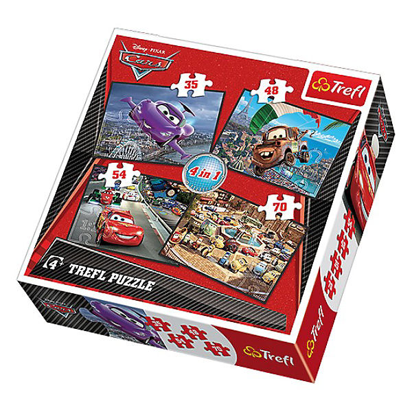 Puzzle-Set 4in1 - 35/48/54/70 Teile - Cars