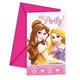 """Приглашения в конвертах """"Принцессы Дисней - Сказочный мир"""", 6 шт."""