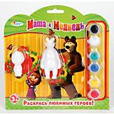 Набор-раскраска, Маша и Медведь,  2 фигурки