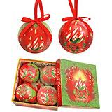 """Набор елочных шаров """"Праздничные свечи"""", 4 шт, d=75 мм, в подарочной коробке"""