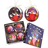 """Набор елочных шаров """"Друзья Санта Клауса"""", 4 шт, d=75 мм, в подарочной коробке"""