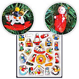 Набор деревянных ёлочных игрушек, 24х24 см, 24 предмета