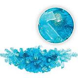 Украшение настенное хвойное, 60 см, голубой цвет