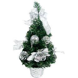 Елка декоративная с серебряными украшениями, 40 см