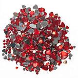 Schmucksteine Herzen rot, 2.000 Stück