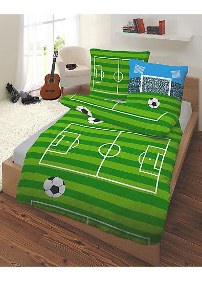 kinderbettw sche fu ball linon 135 x 200 cm mytoys. Black Bedroom Furniture Sets. Home Design Ideas