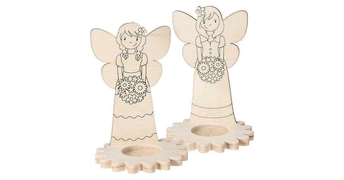 Teelichthalter Holz Elfe zum Selbstgestalten