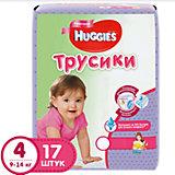 Трусики-подгузники Huggies 4 для девочек 9-14 кг, 17 шт.
