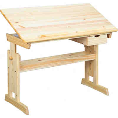 Schreibtisch tonja h henverstellbar kiefer massiv natur for Schreibtisch buche natur