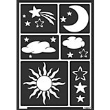 HOME DESIGN Window Style Design-Schablone A5 Sonne, Mond und Sterne