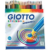 Акварельные цветные карандашии, 24 шт, кисть в комплекте.