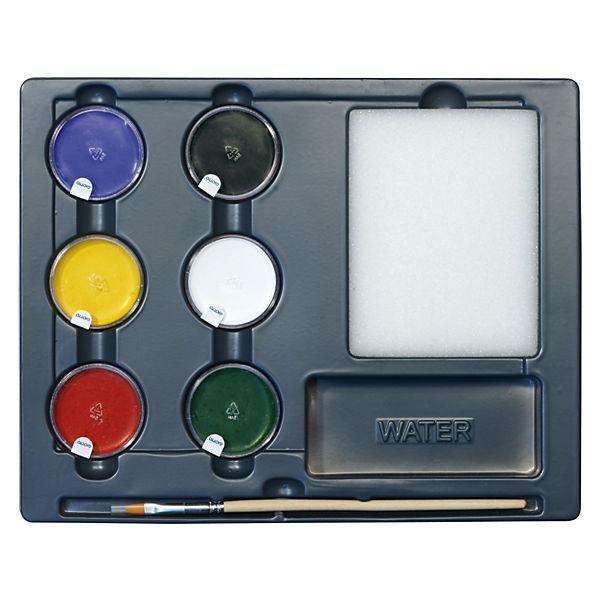 Грим-краски на восковой основе в баночках 5 цв*5 мл, белый цвет*10мл, с кистью и спонжем.