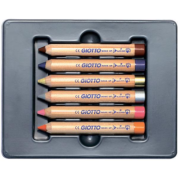 Набор карандашей для грима на восковой основе, 6 шт, фантазийные цвета+золото и серебро.