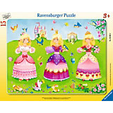 Rahmenpuzzle - Schöne Prinzessinnenkleider - 15 Teile