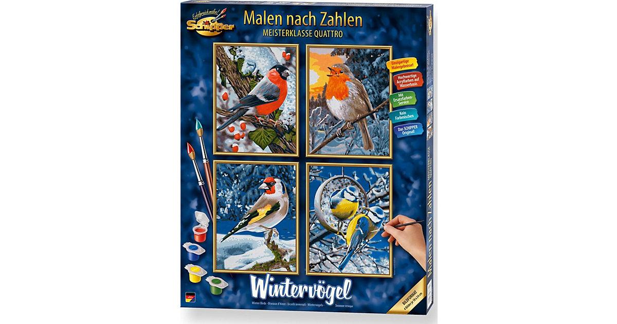 Malen nach Zahlen - Wintervögel Quattro