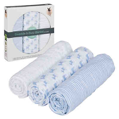 Mullwindeln Lela, 3er Pack, 85 x 85 cm, light blue