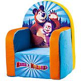 Мягкое кресло Маша и Медведь, СмолТойс, голубой