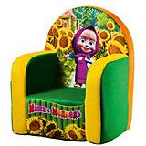Мягкое кресло Маша и Медведь, СмолТойс, зеленый