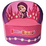 Мягкое кресло скругленное Маша и Медведь, СмолТойс, розовый