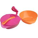 Esslernschale mit Löffel, pink/ orange