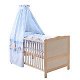 Kinderbett komplett Buche natur, Kuschelbär blau, 70 x 140 cm