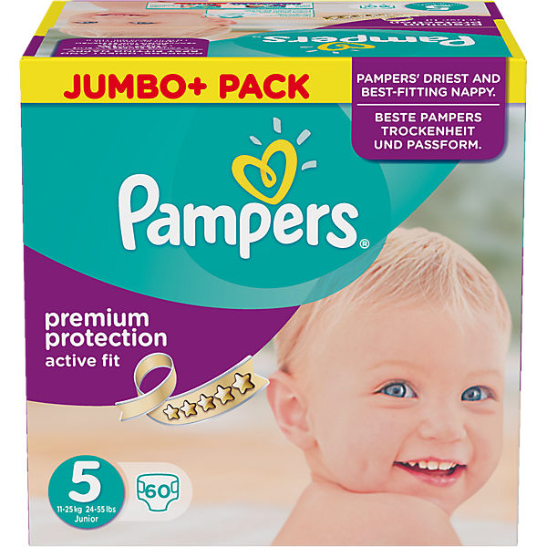 1x60 Stück PAMPERS Active Fit Gr.5 Junior 11-25kg Jumbo plus Pack