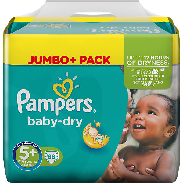 1x68 Stück PAMPERS Baby Dry Gr.5+ Junior Plus 13-27kg Jumbo Plus Pack