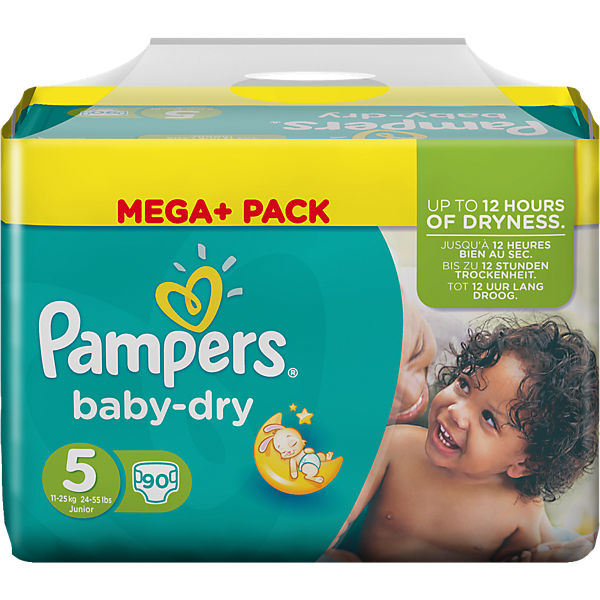 1x90 Stück PAMPERS Baby Dry Gr.5 Junior 11-25kg Mega Plus