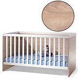 Kinderbett JETTE mit Rückwand, Wildeiche Echtholzstruktur/Weiß, 70 x 140 cm