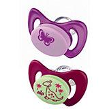 Schnuller Miss Denti, Silikon, Dino/Schmetterling violett/pink, 2er Pack
