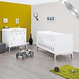 Kinderbett & Wickelkommode breit Sparset VISION, Chromsockel / Weiß
