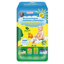 Детские впитывающие пеленки Пелигрин с липким слоем 60х60 см., 10 шт