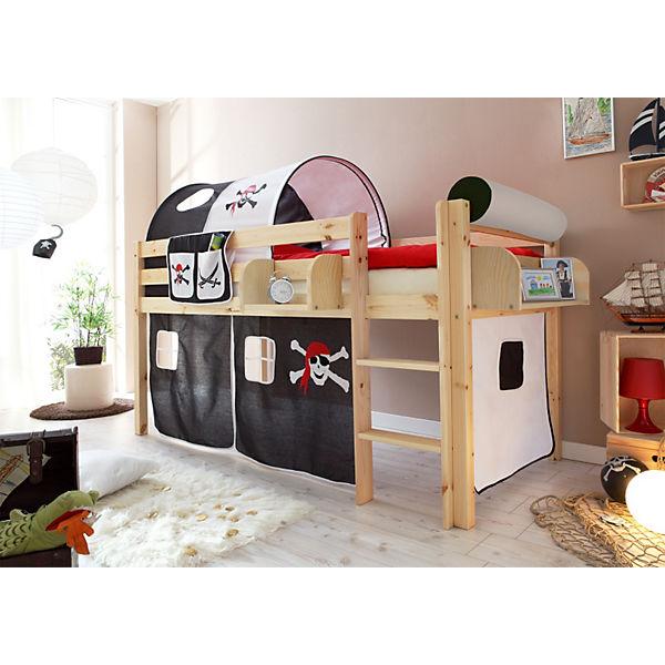 hochbett malte kiefer massiv natur 90 x 200 cm pirat. Black Bedroom Furniture Sets. Home Design Ideas