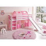 Spielbett Manuel, Kiefer massiv weiß, 90 x 200 cm, rosa-pink