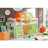 Hochbett Kenny, Kiefer massiv weiß, grün-orange
