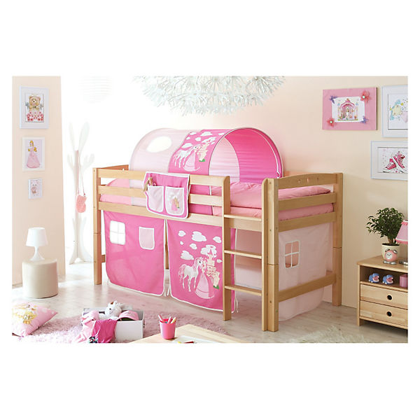 hochbett timmy r buche massiv natur 90 x 200 cm prinzessin rosa ticaa mytoys. Black Bedroom Furniture Sets. Home Design Ideas