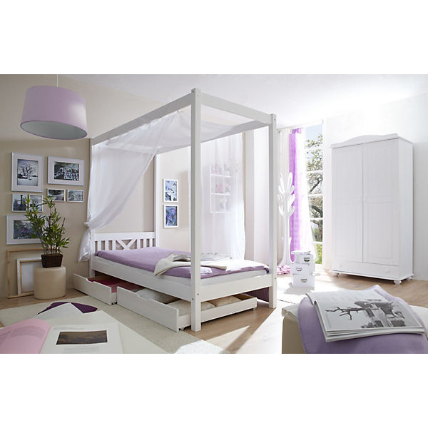 himmelbett laluna kiefer massiv natur 90 x 200 cm ticaa mytoys. Black Bedroom Furniture Sets. Home Design Ideas