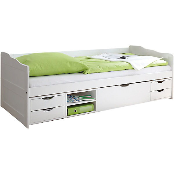 sofabett mit schubk sten marlies kiefer massiv wei 90 x 200 cm ticaa mytoys. Black Bedroom Furniture Sets. Home Design Ideas