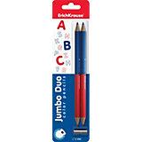 Двухцветные треугольные карандаши JUMBO c точилкой
