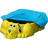 Бассейн-песочница Собачка с покрытием, желто-синий, PalPlay