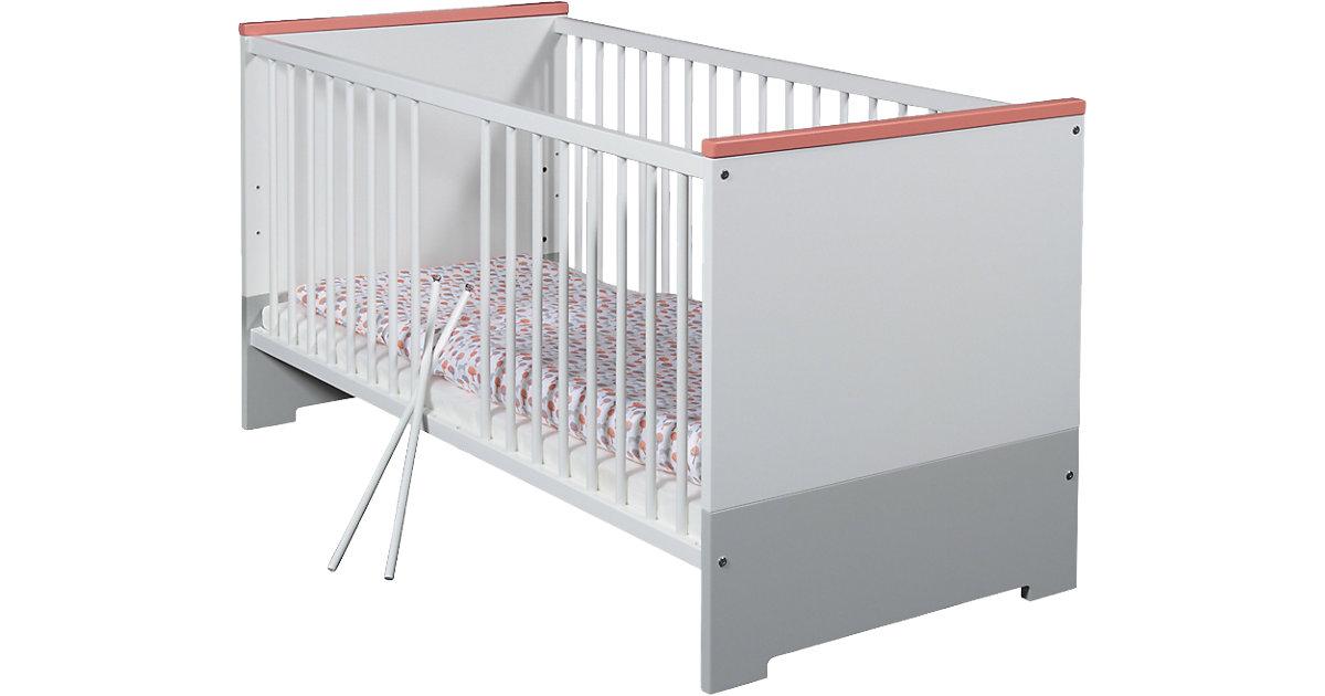 Kinderbett CANDY RED, weiß/rot/grau, 70 x 140 cm