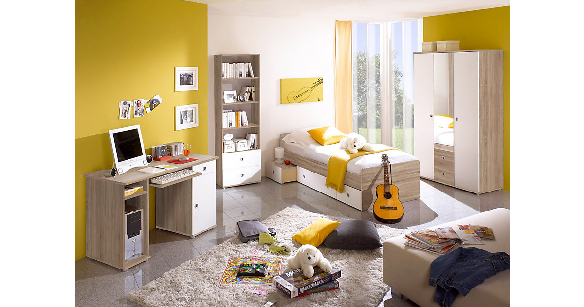 Komplett Jugendzimmer Vicky, 4-tlg. (Einzelbett, Kleiderschrank, Schreibtisch, Standregal), Sonoma-Weiß kolonial Gr. 90 x 200
